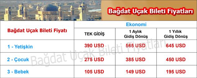 Bağdat uçak bileti fiyatları