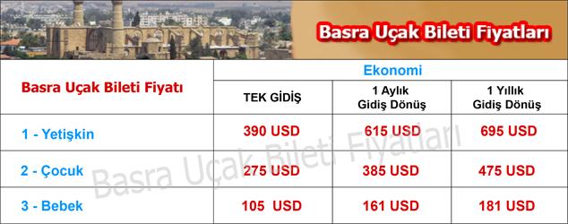 Basra uçak bileti ücretleri