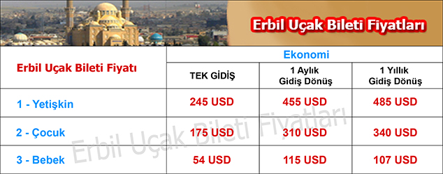 Erbil uçak bileti fiyatları