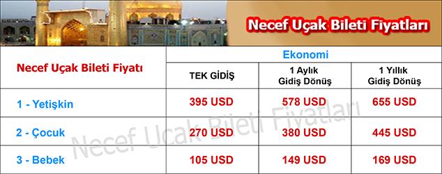 Necef uçak bileti fiyatları